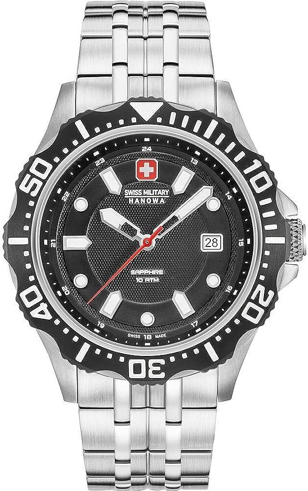 Swiss Military Hanowa Reloj Analógico para Hombre de Cuarzo con Correa en Acero Inoxidable 06-5306.04.007