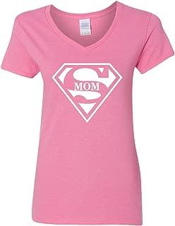 Super Mom V-Neck T-Shirt Womens Supergirl Superman Superwoman Movie Girl Mother