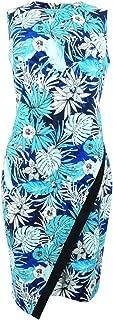 Womens Sleeveless Floral Sheath Dress