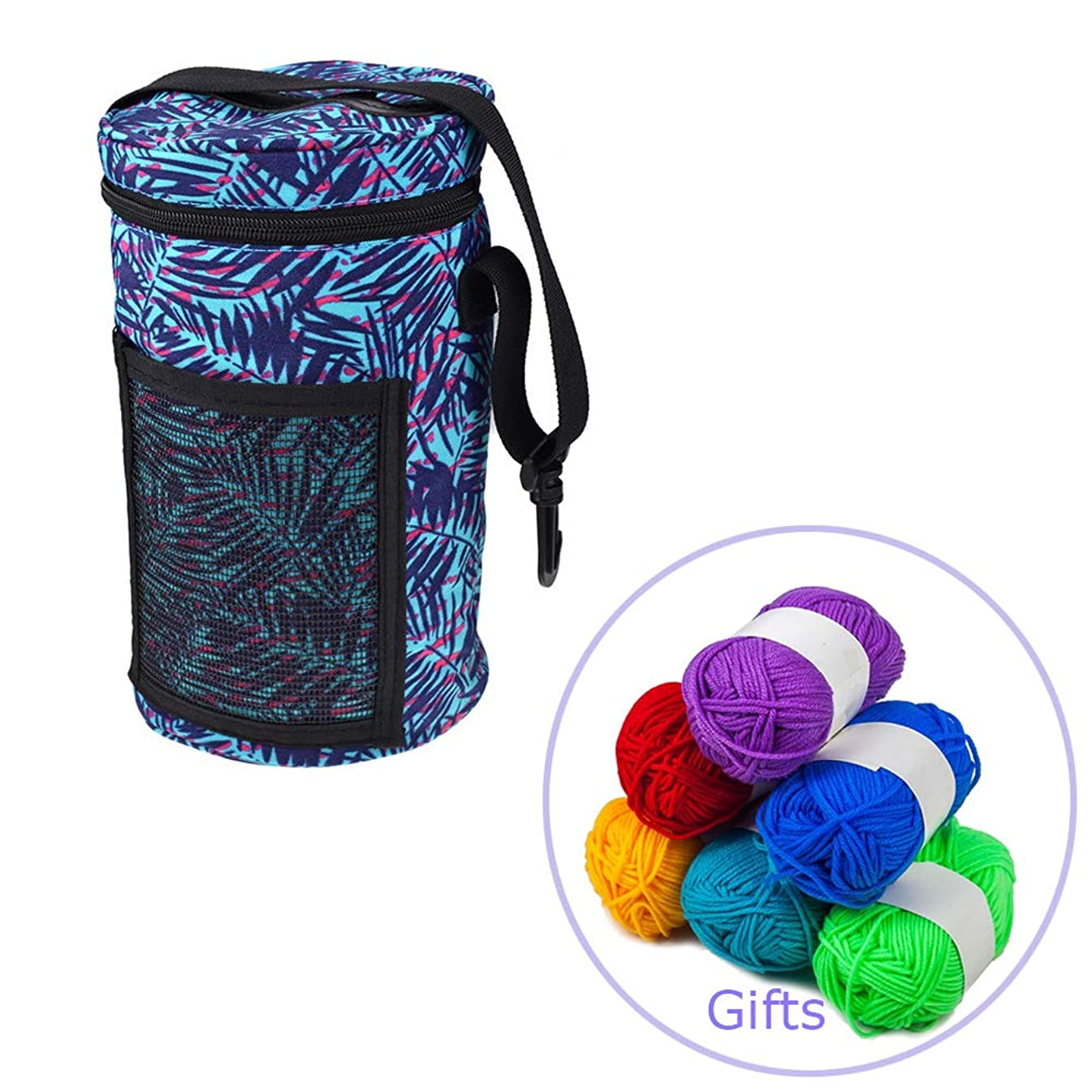 LNKA Knitting Bag for Yarn Storage,Crochet Hooks, Needles and Woolfor Accessories and Slits on Top to Protect Yarn and Prevent Tangling (Free 6 Pack Cotton Mini Yarn) (Medium Size+6 Pack Yarn)