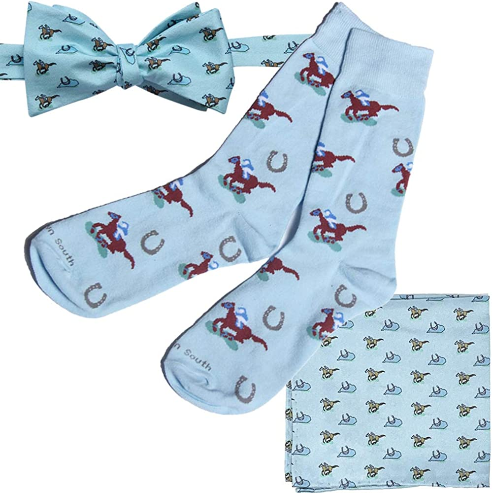 Kentucky Derby Mens Horse Racing Silk Bow Tie, Pocket Square and Dress Sock Set