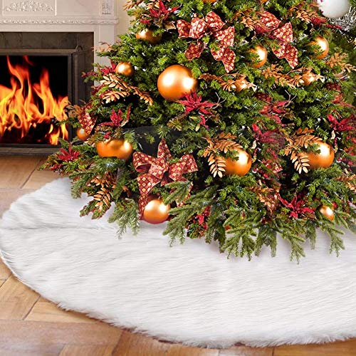 AWLGAK White Faux Fur Christmas Tree Skirt Snow Tree Skirts for Christmas Holiday Decorations,Christmas Party New Year Home Decoration(90cm/35in)