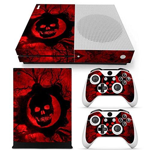 Microsoft XBOX ONE S Skin Design Foils Aufkleber Schutzfolie Set - Red Skull Motiv