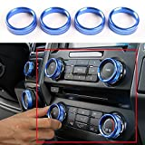 Blue Aluminum Alloy Interior Air Conditioner Switch Knob Ring Cover Trim For Ford F150 XLT 2016 2017 2018