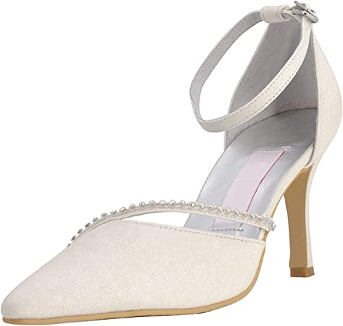 Qiusa GYMZ702 femmes Strappy Glitter Soirée Prom Chaussures De Mariage De Mariée Pompes Sandales Flatfs (Couleuré   Ivory-9cm Heel, Taille   3 UK)