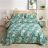 YC 3-teiliges Set mit Regenwald-Pflanze, grüne Dschungelpflanze, Tagesdecke, tropisches Blumenmuster, Sommerdecke, Doppelbett, leicht, grüne Bäume, Blätter, Tagesdecken + 2 Kissenbezüge