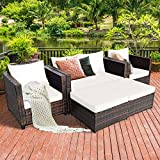 Tangkula 5 Pieces Patio Furniture Set, Outdoor Rattan Sofa Set w/Removable Cushions, Wicker Loveseat w/Single Sofa and Ottoman, Sectional Sofa Conversation Set for Backyard, Garden, Poolside (Beige)