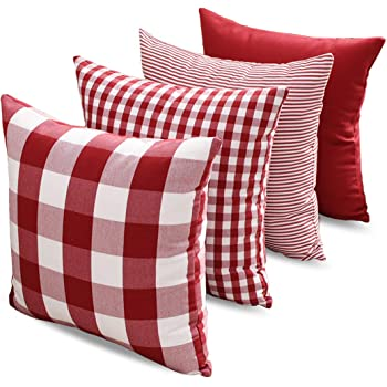 CARRIE HOME Buffalo Check Pillow Covers Buffalo Plaid Throw Pillow Cover 18x18 for Red and White Decorations, Set of 4