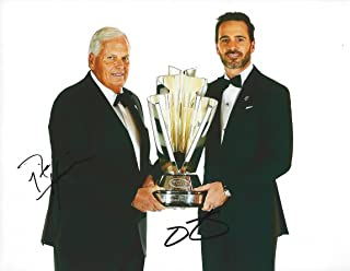 2X AUTOGRAPHED 2016 Jimmie Johnson #48 Lowes Racing 7X NASCAR CUP CHAMPION (Media Day Trophy Pose) Sprint Cup Series Signed NASCAR Picture 9X11 Inch Glossy Photo with COA