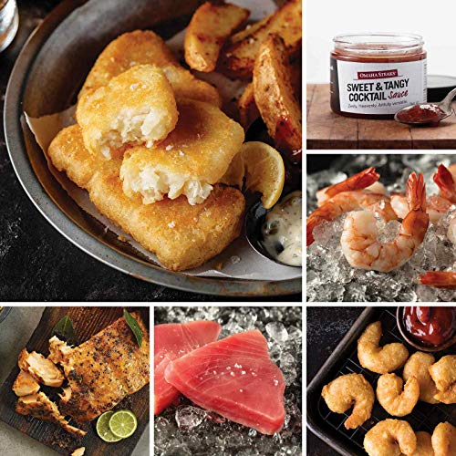 Seafood Favorites Assortment from Omaha Steaks (Pub-Style Cod, Marinated Salmon Fillets, Yellowfin Tuna Steaks, Redhook Ale Beer-Battered Shrimp, Jumbo Cooked Shrimp, and Sweet & Tangy Cocktail Sauce)