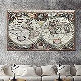 Vintage Tierra Hemisferio global Mapa del mundo Continente Lienzo ecuatorial Pintura Arte de la pared Póster Dormitorio Sala de estar Oficina Estudio Decoración para el hogar Mural