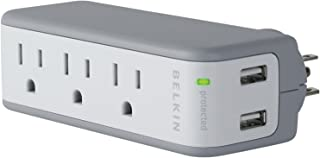 Belkin 3-Outlet Mini Travel Swivel Charger Surge Protector with Dual USB Ports (1 AMP / 5 Watt)
