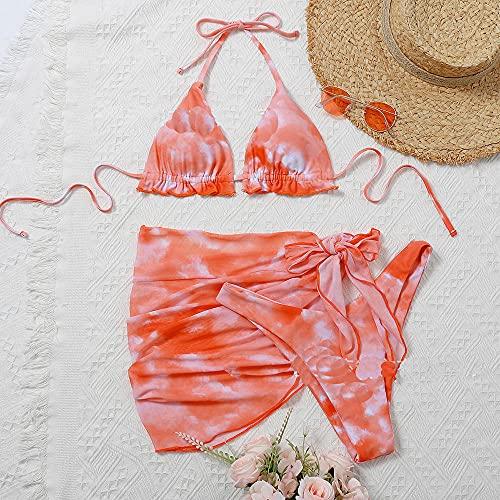 Leftroad Top de Bikini asimétrico para Mujer,Sexy Dressing Multicolor Bikini-Orange_L #,Traje de baño de Cintura Alta con Espalda Abierta
