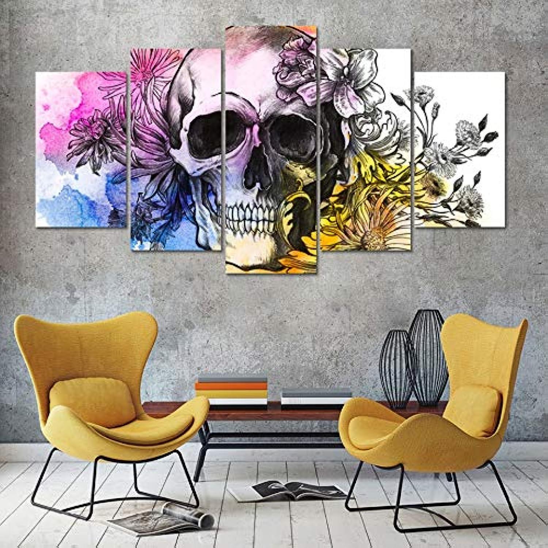 estilo clásico Xkkzka Vintage Decoración Decoración Decoración del Hogar Pinturas Populares 5 Panel Cráneo con FloresFotos En Lienzo Carteles E Impresiones En La Parojo-Marco  de moda