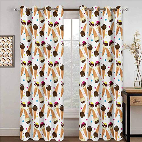 Cheap Ice Cream Shading Insulated Curtain Chocolate Covered Ice Cream with Colorful Little Dots Frozen Desert Waffle Cones for Living Room or Bedroom W96 x L96 Inch Multicolor