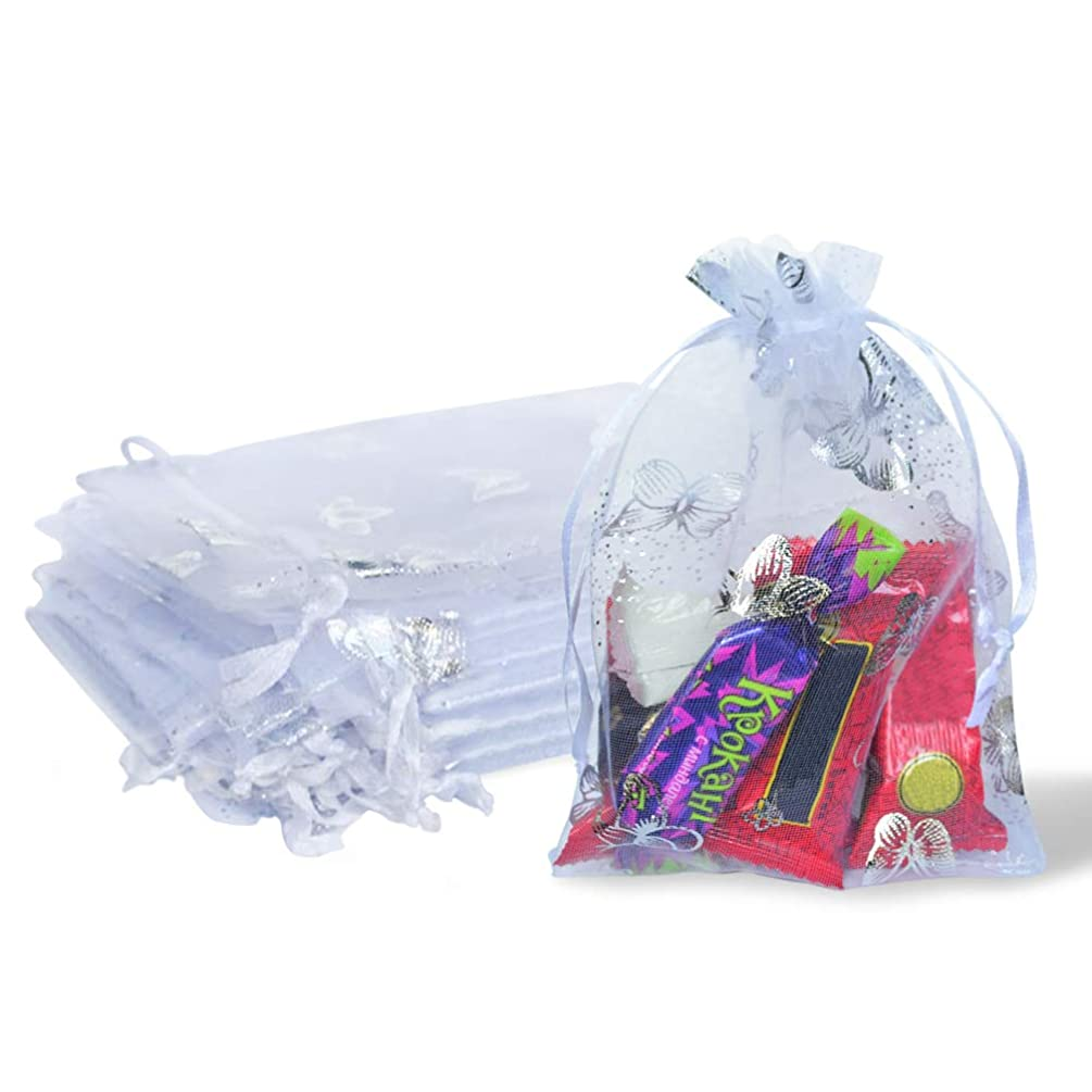 Organza Bags 4x6 inch 50pcs Satin Drawstring Organza Party Wedding Favor Gift Bags (White with Butterfly)