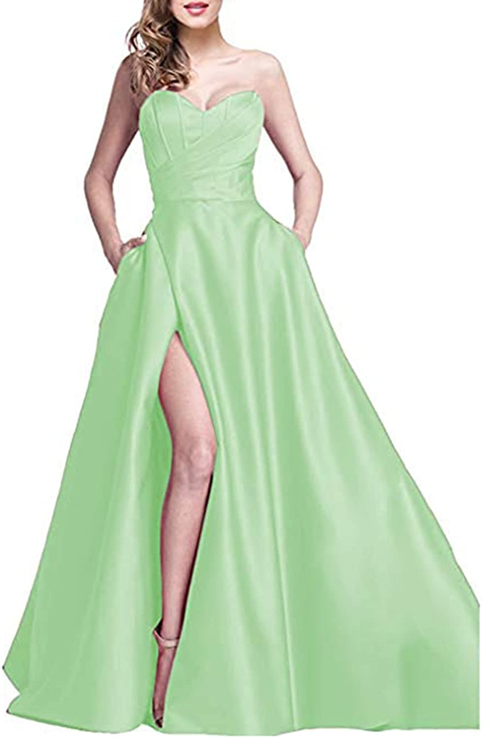 Alilith.Z Sexy Sweetheart Side Slit Beaded Prom Dresses Long Formal Evening Dresses Party Gowns for Women with Pockets