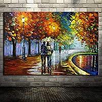 ZSKFS 大手描き恋人雨ストリートツリーランプ景観オイルはキャンバスの壁のアートウォールの写真のためにリビングルームのホームインテリアにペイント (色 : HY142211, Size (Inch) : 80x130cm(32x52inch))