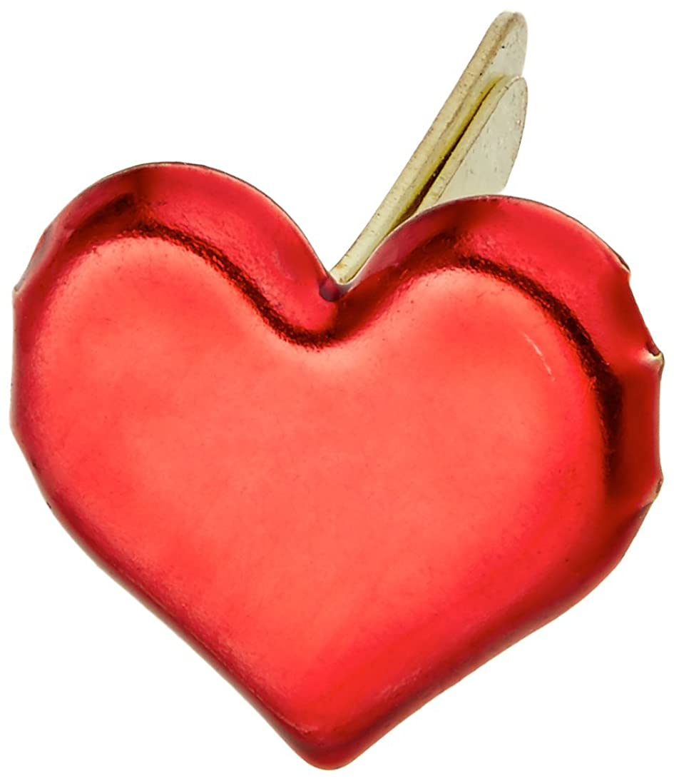 CREATIVE IMPRESSIONS Painted Metal Paper Fasteners 50/Pkg, Hearts - Metallic Red