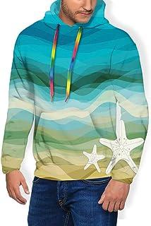 GULTMEE Men's Hoodies Sweatershirt, Abstract Design Modern Illustration of Waves Starfish Sandy Beach Aquatic Theme,5 Size