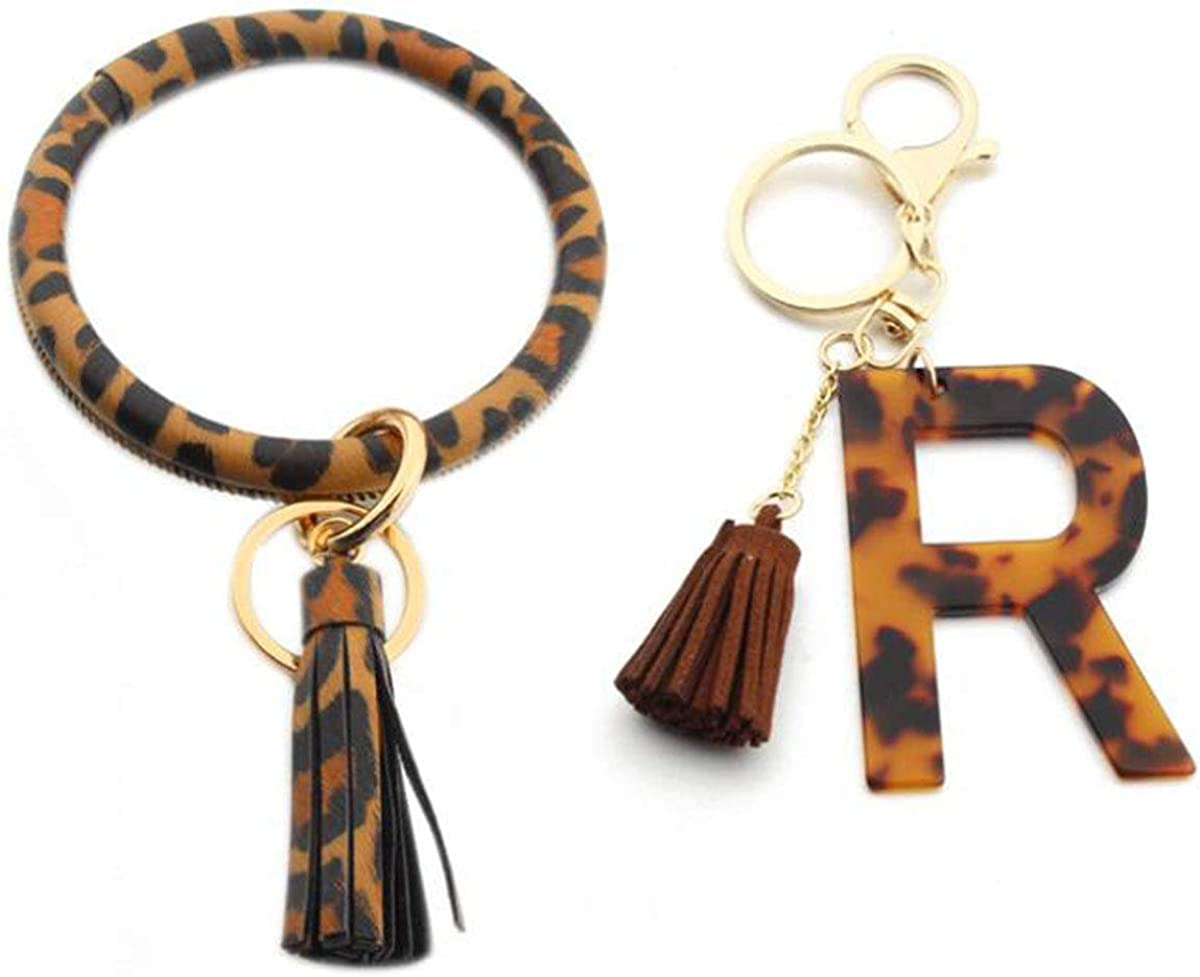 Daisybaby Initial Letter Leopard Print Keychain and Tassel Wristlet Chain Premium Bag Charm Keychain Accessories for Women