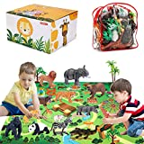 Safari Zoo Animals Figures Toys with Activity Play Mat & Trees, Hand Painted Plastic Animals Figurines, Realistic African Jungle Wild Animals Educational Playset for Kids Boys Girls, 22 Piece