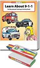Learn About 911 - Kid's Educational Coloring & Activity Book & Crayon Set in Bulk (25 Pack)