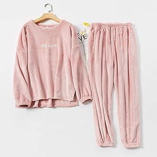 SANJIANG Conjunto de pijama de forro polar coral para mujeres y hombres, cómodo, cálido, suave, para estar en casa, color rosa y XXL