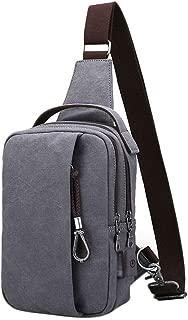 Chest Bag Men's Bag Canvas Shoulder Bag Messenger Bag Fashion Small Backpack Sports Leisure Pockets (Color : Gray, Size : Upgrade Style)
