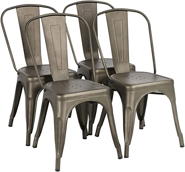 Yaheetech Iron Metal Dining Chairs Stackable Side Chairs Tolix Bar Chairs With Back Indoor Outdoor Classic Chic Industrial Vintage Bistro Caf Trattoria Kitchen Gun Metal Set Of 4