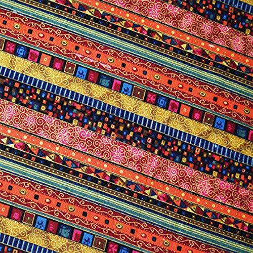 ONECHANCE 100% Coton Tissu au Metres Motif Tissus Style de Bohême Matériel DIY Couture pour Patchwork Artisanats Tissu a Coudre 100x145cm Color Ligne dorée Size 2 mètres