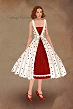 Vintage Fashion: Writing Notebook, Diary, 1950 fancy cute dress fashion illustration, fashionista journal with lined pages