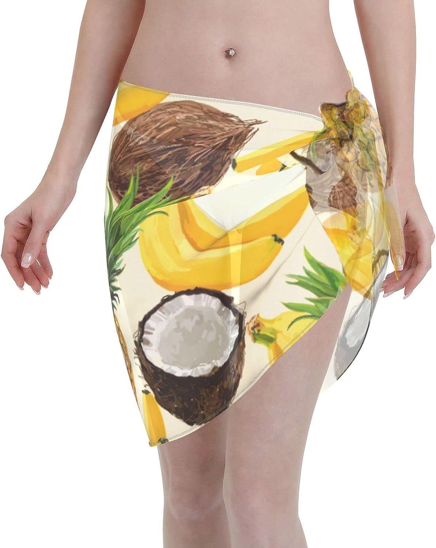 Jeezhub Tropical Fruit Coconut Pineapple Banana Women Short Sarongs Beach Wrap Sheer Bikini Wraps Chiffon Cover Ups for Swimwear Black