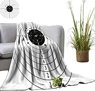 YOYI Single-Sided Blanket Target Numbers and Bullet HOL Polyg Gun Training Black White for Bed & Couch Sofa Easy Care 30
