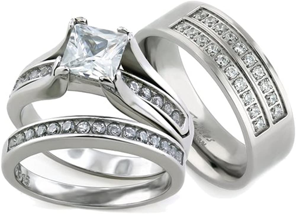 Marimor Jewelry Her His Popular product 3pc Stainless Silver Steel Titanium Long Beach Mall