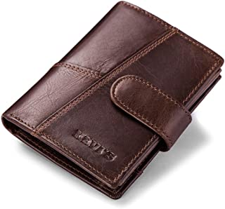 Mens Leather Bag Men's Three Fold Multi-Function Multi-Card European and American Fashion Wallet Bag (Color : Brown, Size : S)