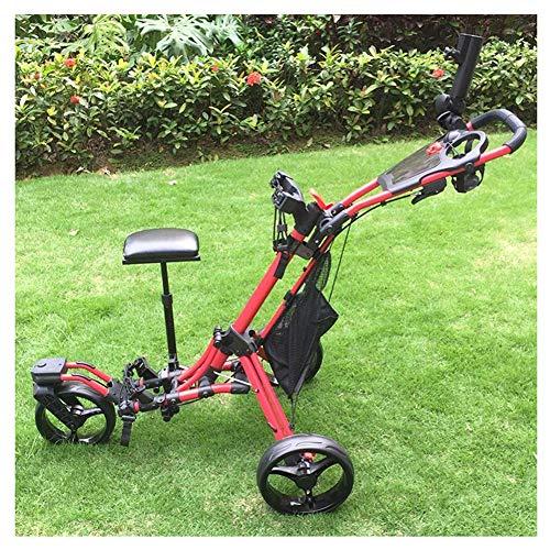 KAIGE Golf Push Cart Swivel Faltbare 3-Rad-Push-Pull-Wagen Golf-Trolley mit Sitz Anzeiger Bag Golf Push Cart WKY