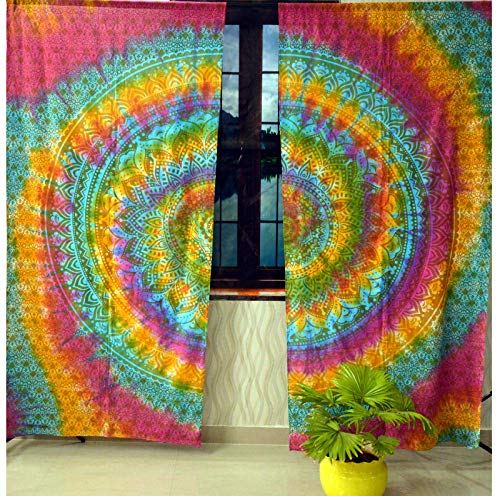 Indian Mandala Curtain Gypsy Bohemian Handmade tie dye Curtains Include 2 Panel Set Mandala Curtain Tapestry Drapes Valances Window Treatment Curtain (Rod Pocket Curtain -Multi Color)