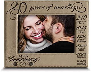 Bella BUSTA-20 Years of Marriage-1999-2019-Months, Weeks, Days, Hours, Weeks, Minutes, Seconds-20th Anniversary- Engraved Leather Picture Frame (5 x 7 Horizontal)