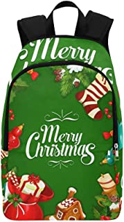 Christmas Holiday Poster Gift Box Holly Casual Daypack Travel Bag College School Backpack for Mens and Women