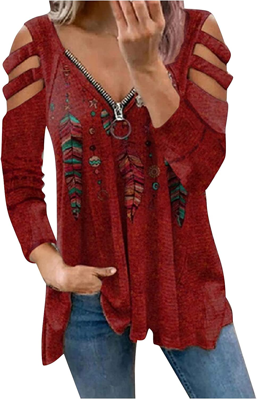 FABIURT Womens Summer Tops,Womens Zipper V Neck Short Sleeve Tunic Casual Cold Shoulder Tshirts Comfy Loose Fit Blouse