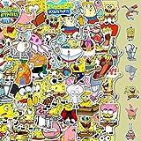 HAOZH Dibujos Animados Bob Esponja Casco Equipaje Taza de Agua monopatín Coche eléctrico portátil Dibujos Animados Pegatinas Impermeables 50 Hojas