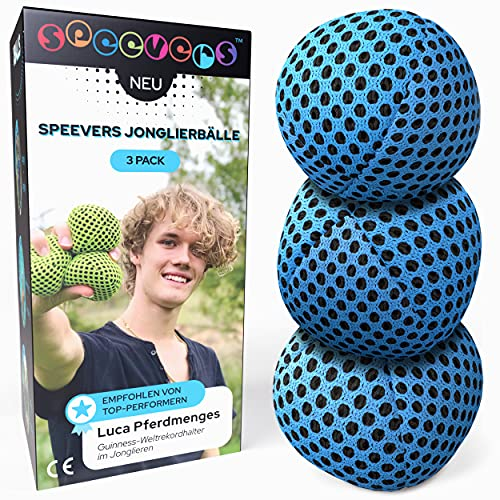 speevers XBalls Jonglierbälle professionelles 3er Set - Wurfbälle zum Jonglieren in 6 Uni Farben - Jonglierset für Kinder, Erwachsene, Anfänger, Profis - Beanbags mit Tragetasche (Blau, 120g)