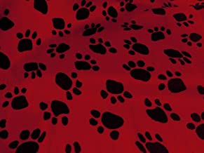 Velboa Paw Print Red 58/60 Inch Fabric By the Yard (F.E.®)