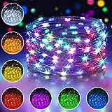 10M 100 LED Bunt Lichterkette Außen, 16 Farben USB Kupferdraht Lichterkette Wasserdichte mit Fernbedienung & 4 Modi, IP65 Farbwechsel Fairy...