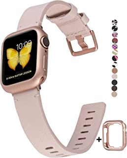 JSGJMY Genuine Leather Band with Case Compatible with Apple Watch 38mm 40mm 42mm 44mm Women Men for iWatch Series 5 4 3 2 1 (Pink Sand/Rose Gold, 38mm/40mm S/M)
