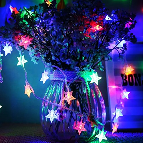 Timewanderer 5m/16.4Ft 50 Colorful Star Led String Fairy Light AA Battery Operated Bright Decorative LED Lights on Clear Wire for Home DIY