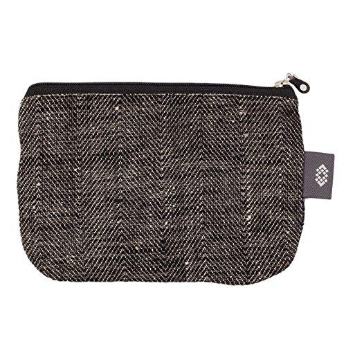 Canvas Makeup Bag 100% Linen - Canvas Travel Bag with Herringbone Pattern Gift for Him or Her (Medium, Black-Natural Herringbone)