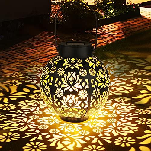 Solarlaterne für Außen, Zorara Metall Solarleuchten Garden IP65 Wasserdicht, Solar Laterne Hängend Solarlichter Garden, Solarlampe Outdoor Dekorative for Garden, Balkon, Yard, Path Ornaments (Rund)