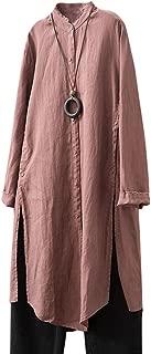 Women's Side Split Tops Linen Cotton Button Dowm Shirts